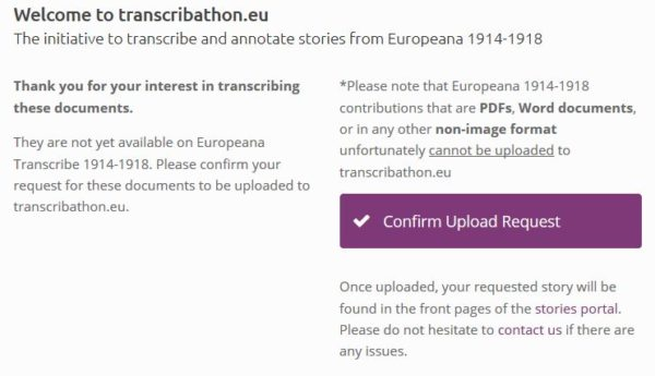You will then be directed to transcribathon.eu, where you need to click 'Confirm Upload Request'.