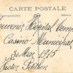 Victor Petitbon et un groupe de soldats blessés, à l'hôpital provisoire de Biarritz installé au Casino Municipal, 30 mai 1915