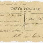 Carte envoyée à Eugène Baffert par sa femme Germaine, 2 juin 1915 (verso).