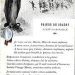 Carte postale « la prière du soldat », ornée d'un médaillon, adressée à Charles Jospeh Marchal par son épouse, Matilde (1918).
