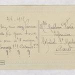 03b- Verso correspondance d'une carte de bonne année brodée adressée à Madeleine Favre