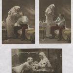 08- Trois cartes de propagande présentant les infirmières et leurs bons soins