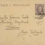 Brieven van moeder Tak en vriendin Palmyre Morioux. 2 postkaarten en 1 visitekaartje.