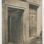 Postcard of a doorway in Advocates Close, Edinburgh