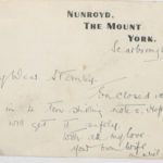 Letter from Muriel Green to her husband in France