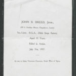 John Breed memorial sheet