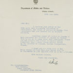Correspondence to JB MacLachlan from Department of Militia and Defence, Ottowa, wishing him well in his post war career