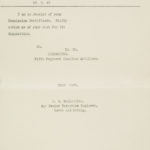 Correspondence with JB MacLachlann seeking direction on the disposition of his commission certificate