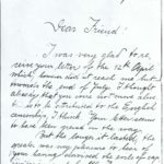 Letter from German guard to British former prisoner