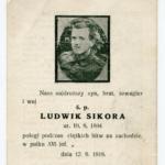 Ludwik Sikora, śmierć na froncie