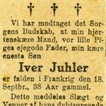 Dødsannonce for Iver Simonsen Juhler