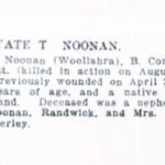 Newspaper death notice, Thomas Noonan