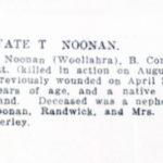 Newspaper death notice, Thomas Noonan