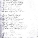 Handgeschreven liedtekst Jeanne-Elisabeth Shrapnell.