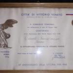 Documento che conferisce a Tassotti Giacomo la Cittadinanza Onoraria della Città di Vittorio Veneto.