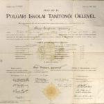 Diplomă de absolvire a Şcolii Superioare Populare de Învăţătoare din Sibiu de către Eugenia Papp