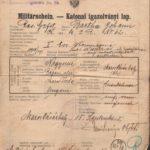 Adeverință militară emisă pe numele Bartha Johann