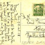 Carte poştală trimisă de Sever Dan, ministrul Sănătăţii în perioada 1928-1929, poetului Emil Isac - verso