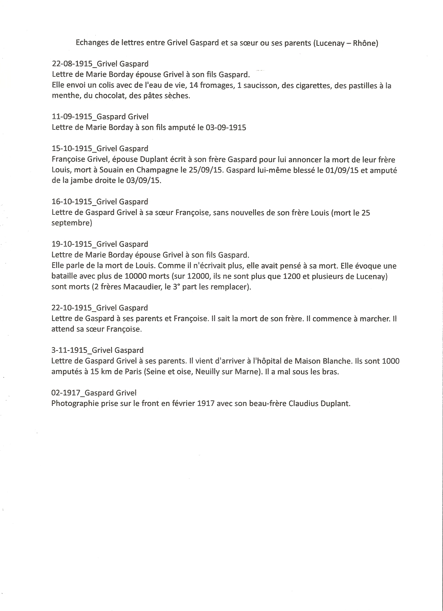 La Vie Du Soldat Gaspard Grivel Item 38 Transcribathon