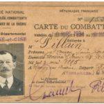 carte d'ancien combattant de François Pillain, mars 1934