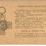 carte d'ancien combattant de François Pillain, mars 1934, verso