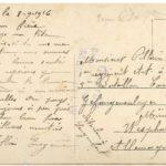 Carte postale envoyée de Carrières-sous-Poissy par Eugène Collin à son beau-frère François Pillain, prisonnier de guerre
